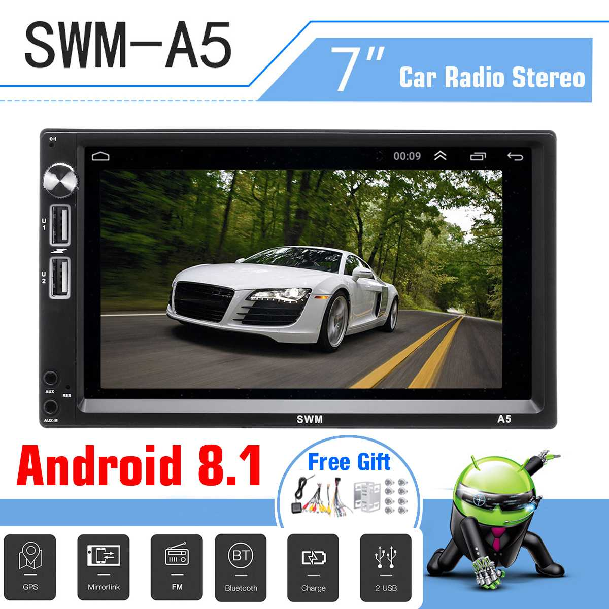 7 inch SWM-A5 HD Car bluetooth Mobile Phone Interconnection MP5 Player GPS Navigation Android 8.17 inch SWM-A5 HD Car bluetooth Mobile Phone Interconnection MP5 Player GPS Navigation Android 8.1