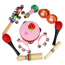 Percussion Musical Instrument Toy Kit Drum Bell Horn Hammer Tambourine Castanets Wooden Stick for Kids Baby Early Education 11PC