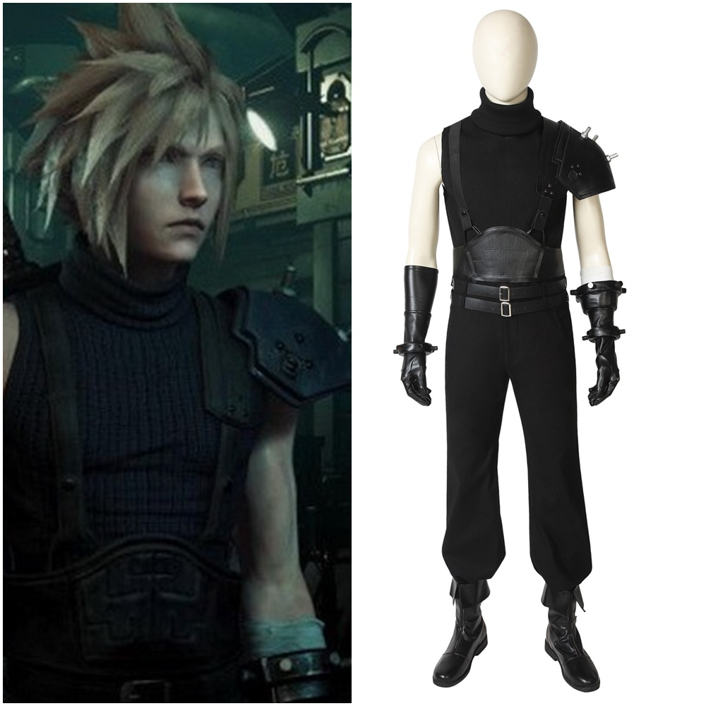 Final Fantasy VII Remake Cloud Strife Cosplay Costume Men Black Outfit