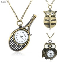 Women's Vintage Owl Tennis Racket Quartz Pocket Watch Necklace Pendant Gift(China)