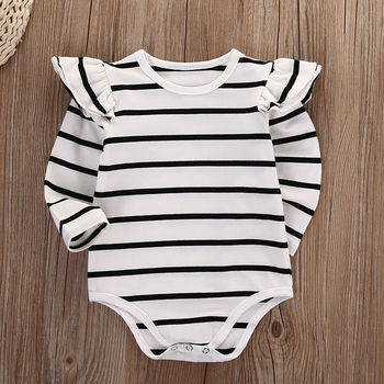 Baby Girl Autumn Cotton Long Sleeve Stripe Bodysuit