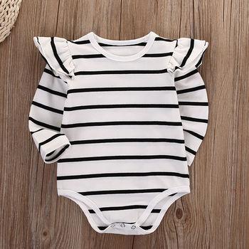 Baby Girl Autumn Cotton Long Sleeve Stripe Bodysuit