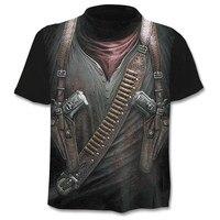 2018 Новый Cloudstyle собственный дизайн мужская футболка 3D пистолет воин Футболка принт нож верхняя одежда с картиной хараюку короткий рукав Фит...
