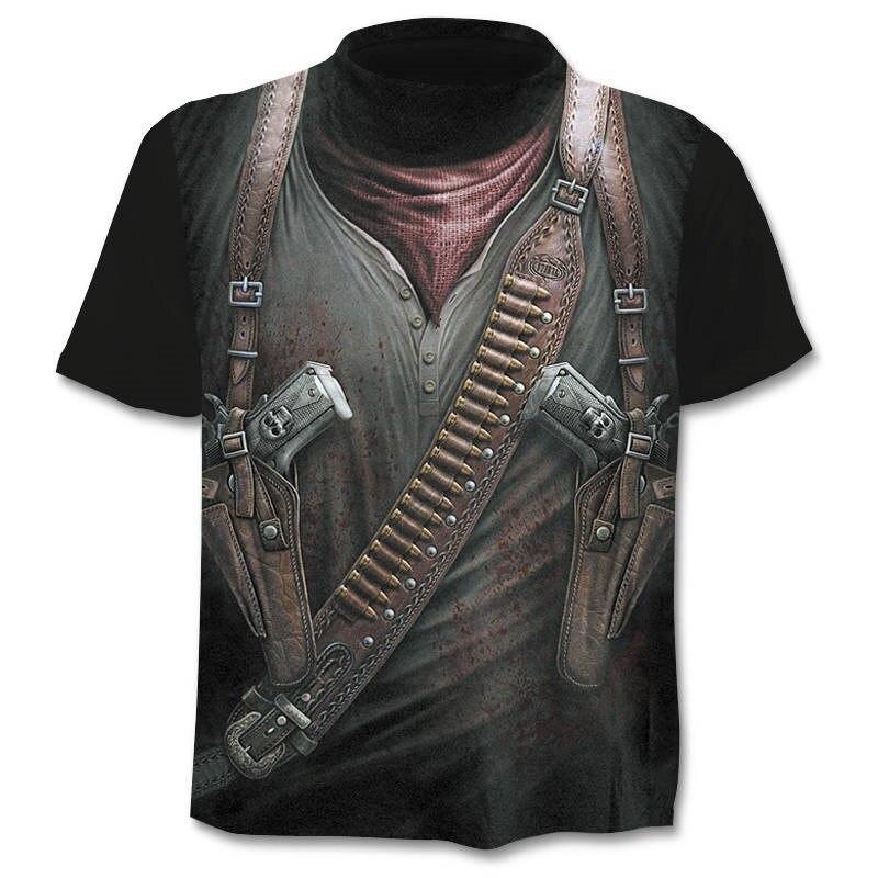 2018 nouveau Cloudstyle propre conception hommes t-shirt 3D pistolet guerrier t-shirt impression couteau Harajuku hauts t-shirt à manches courtes Fitness t-shirt