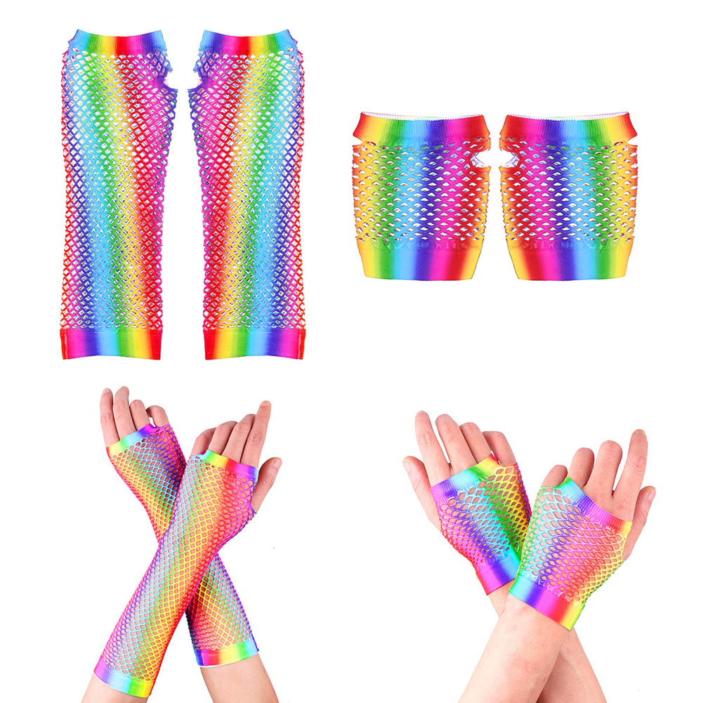Ladies Sexy Gloves Rainbow Mesh Net Fishnet Gloves Hollow Out Holes Fingerless Mittens Elbow  Plaid Multicolor New Style Gloves
