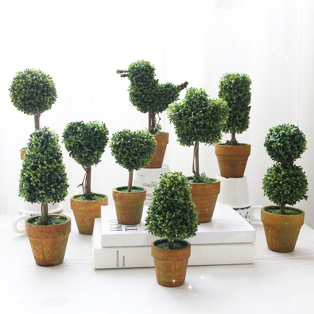 Green Home Garden Decor Rustic Mini Artificial Plants Topiary Tree Potted Plants