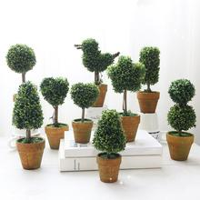 1Pc Heart Star Round Potted Artificial Plant Bonsai Small Tree Pot Plants Ornament Home Garden Wedding Party Decor