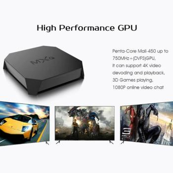 MXQ U2+W Android 7.1 Smart TV Box 1+8GB Amlogic S905W Quad Core WiFi BT4.0 4K H.265 Set-top Box Media Player With US/EU Plug