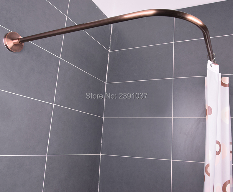 Red Bronze Stainless L Shaped Shower Curtain Poles Punch Free