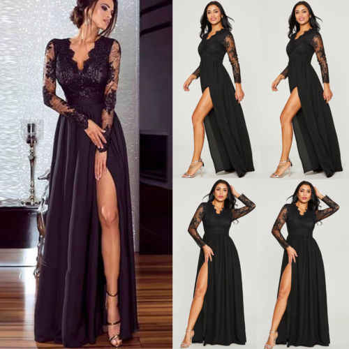 3753bb4cca2 2019 New Black Dress Women Lace Maxi Dress Oversize Formal Wedding Long  Evening Party Prom Gown