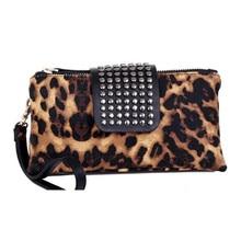 Leopard Woman's Wallet Beautiful Purse Long Photo Holder Coin Pocket Rivet Zipper Casual Girl Clutch Wallets Standard