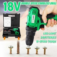 Electric Screwdriver Impact Cordless Mini Drill Power Tools Driver with 2 Battery Rechargeable 10mm 2 Speed Electric Wrench 18V