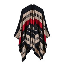 34e4bf9f614 QC 2019 Women Striped Ponchos and Capes Echarpe Foulard Femme Winter  Scarves and Wrap