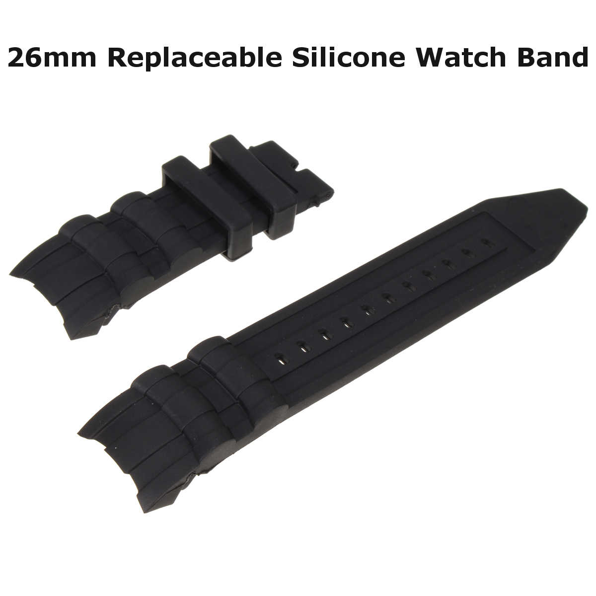 Black Watchband Replacement Soft Silicone Rubber Watch Band Strap Kit For Invicta SUBAQUA Width:26mm Total Length: 145mm