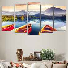 HD Print Modular Picture Frame Canvas 5 Panel Beautiful Boats Sea Mountain Natural Landscape Painting Home Wall Art Decor .