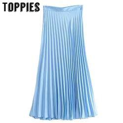 2019 Летние Плиссированные женские юбки Высокая талия голубой розовый длинные юбка в английском стиле женские Faldas Saia