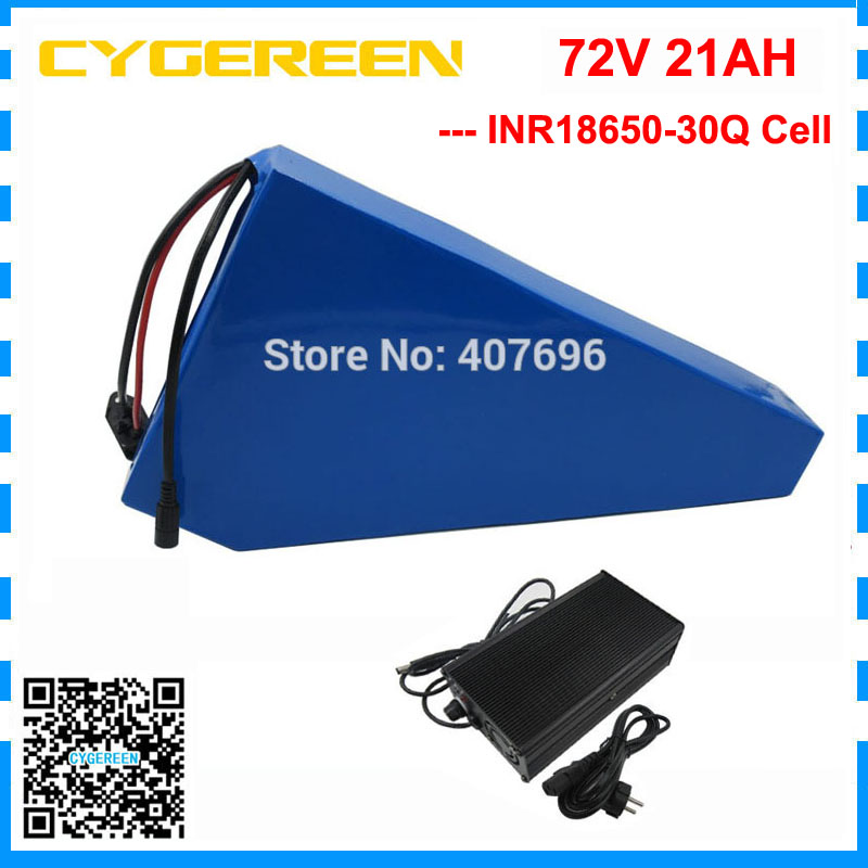 High quality 5000W 72V battery pack 72V 21AH triangle battery 72 V bicycle battery use 30Q cell 70A BMS with 84V 2A Charger