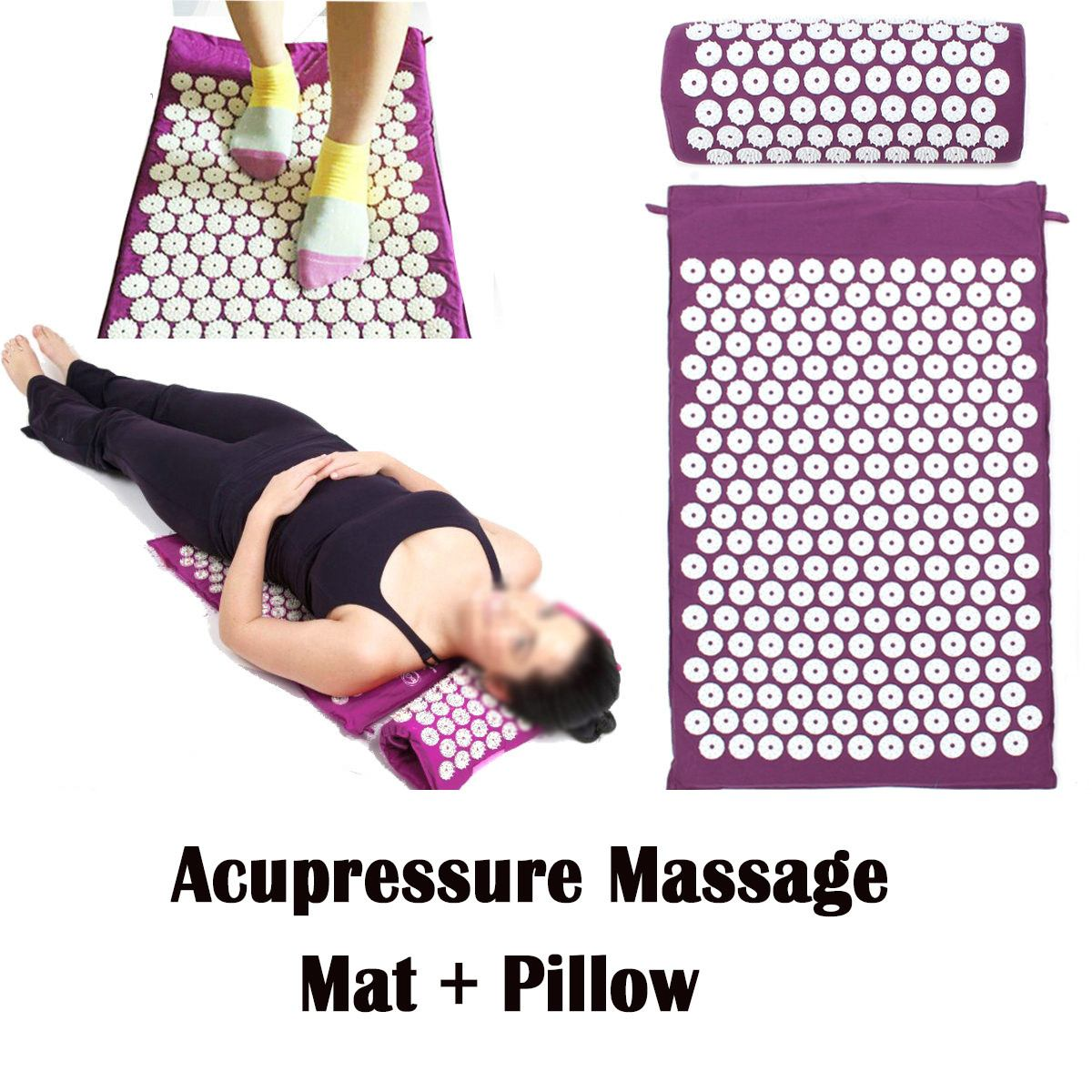 3 colors Acupressure Massage Mat Pillow Back Neck Head Body Therapy Acupuncture Massager Yoga Spike Cushion Stress Pain Relief