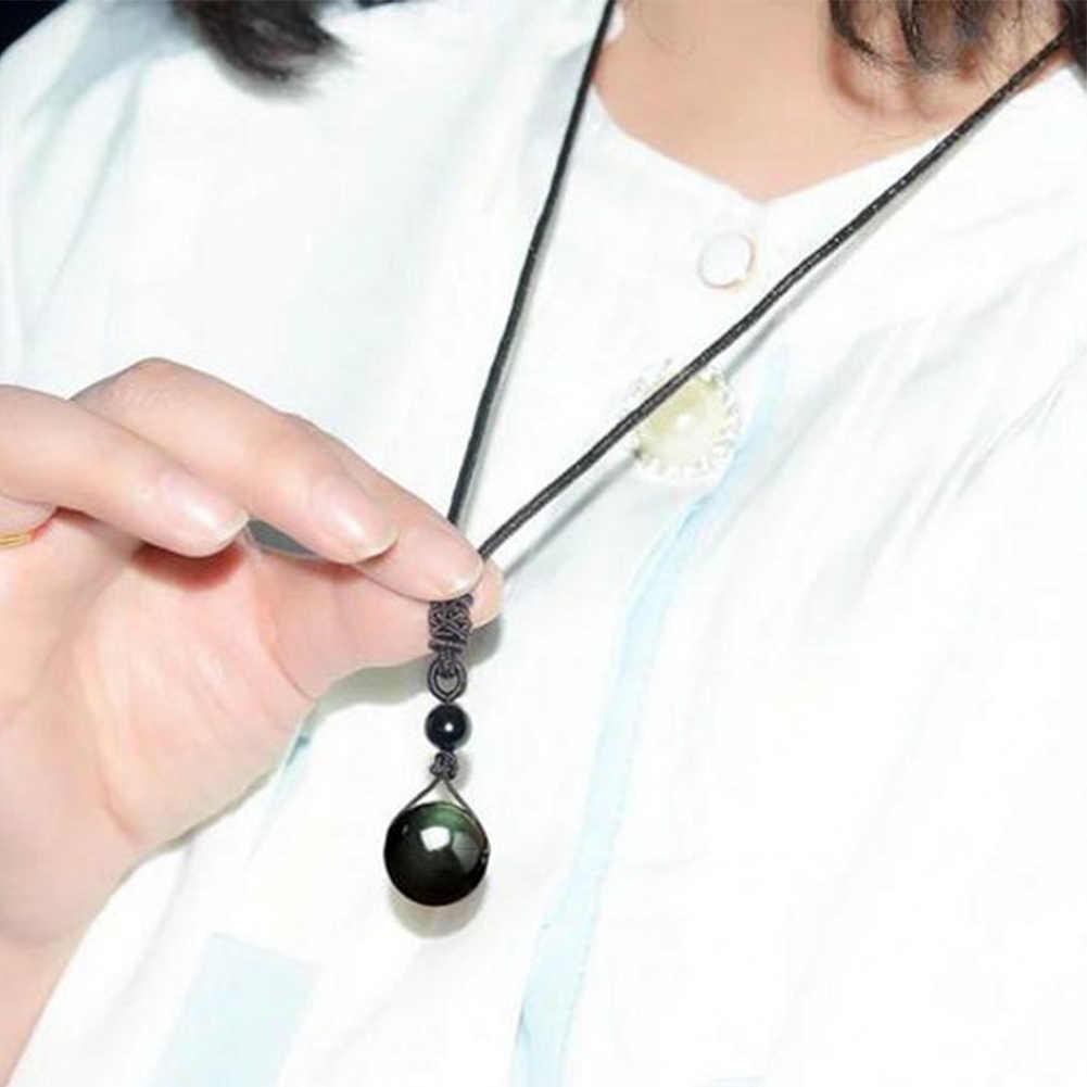 Natural obsidian pingentes arco-íris olho boa sorte grânulo pingente mulher longa corrente colares de malha harajuku colar bola de cristal
