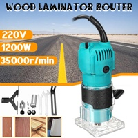 220V 1200W Wood Electric Laminator Router 35000r/min Blue Plastic Router Joiners Tool Waterproof Durable Collet Diameter 6.35mm