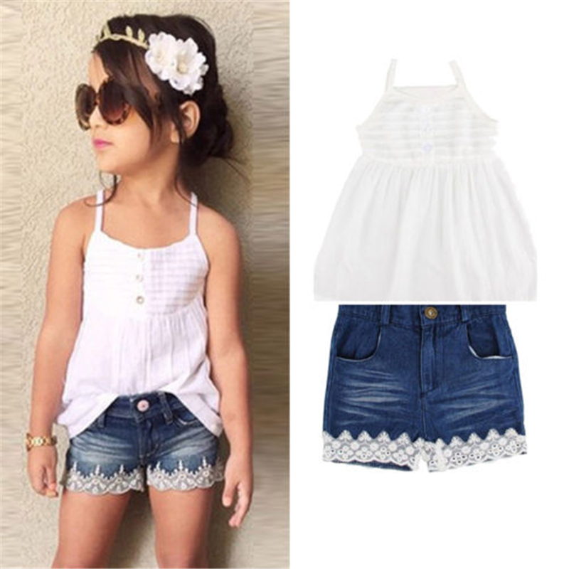 Toddler Kids Baby Girls T-shirt Tops+Jeans Shorts Pants Outfits Clothes 2PCS Set