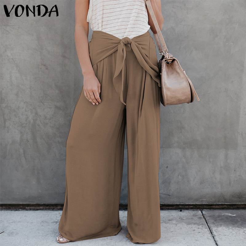 VONDA Plus Size Women   Wide     Leg     Pants   2019 Autumn Sexy High Waist Solid Office Ladies   Pants   Casual Loose Trousers Female Bottoms