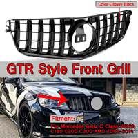 Новый GTR GT Стиль передний бампер автомобиля верх гонки решетка гриль для Mercedes Benz подтяжку лица W204 C180 C200 C300 Для AMG 2008 2014