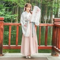 Holiday Discount ! New Traditional Hanfu Embroidered Large Sleeves Cross Collar Waist Skirt Everyday Vintage Suit 5822