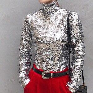Image 2 - DEAT 2020 New Spring Fashion Women Turtleneck Full Sleeves Sequins Slim T shirt Femael Sliver Brling Top WC83910S