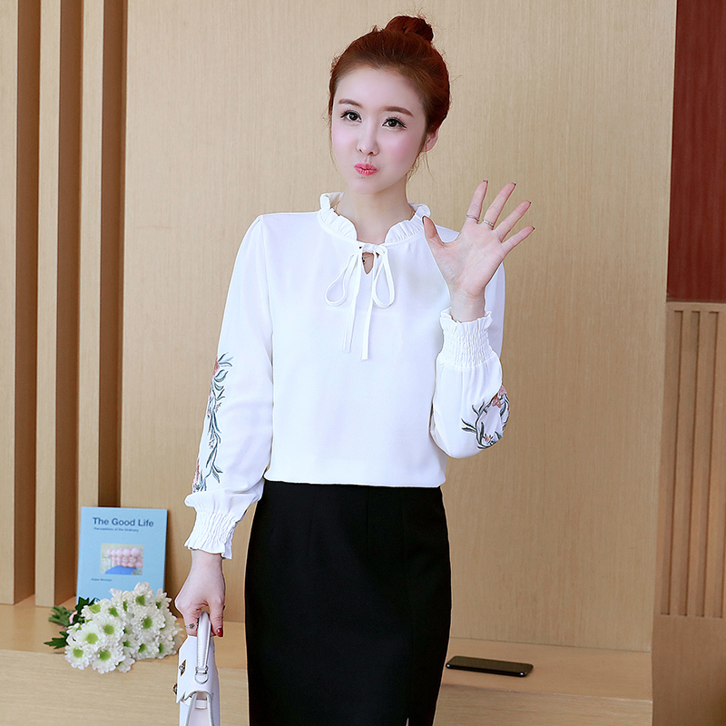 2019 spring women s large size flower embroidery v-neck shirt female plus  size long- 0c2225ce772f