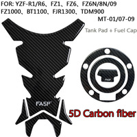 FASP Fuel Tank and Gas Tank Fuel Cap Cover Protector Pad Sticker decal for Yamaha YZF R1/R6/FZ Carbon Fiber Look