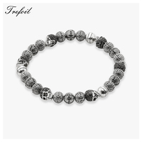 Bracelet Strand with Skull and Cross Beads, 2018 New Blackened Silver Fashion Male Jewelry Punk Gift for Men Boy Women Girls