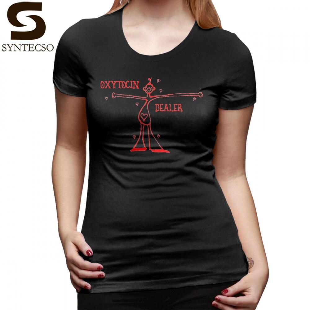 Hug Dealer T-Shirt Oxytocin Dealer red T Shirt Oversized Short-Sleeve Women tshirt Black Summer Kawaii O Neck Ladies Tee Shirt