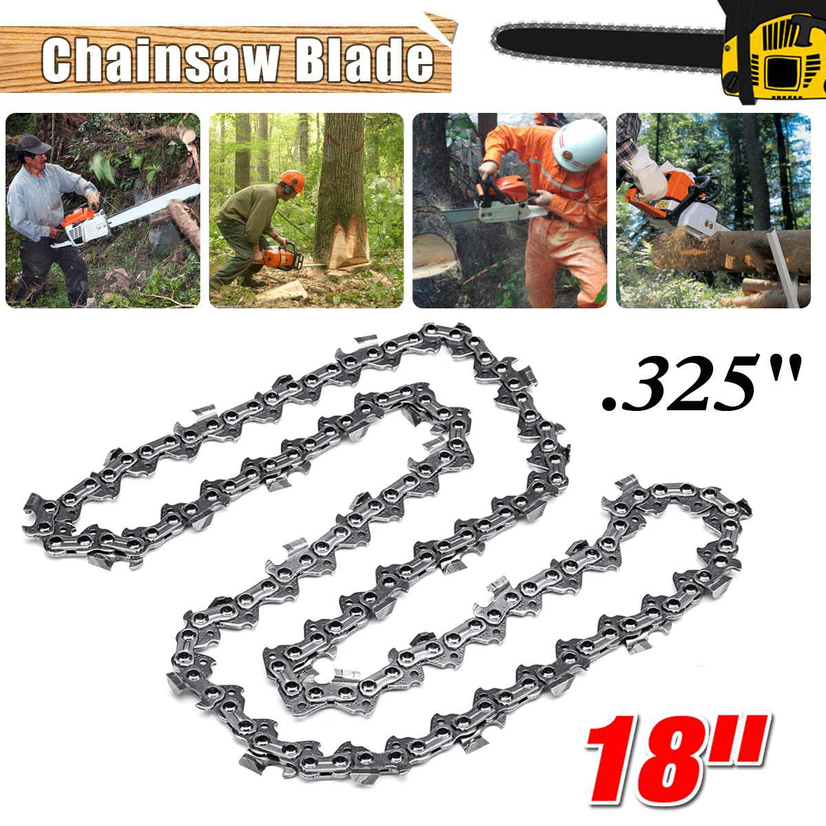 New 18 inch Chainsaw Chain 68 Link Bar 1.6mm x 0.325