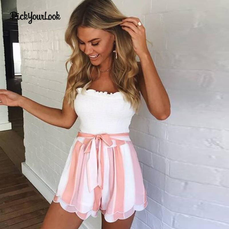 PickyourLook Women Fashion Striped Print Waist Lace Up Petals Brim Loose Shorts Summer Casual Comfortable Shorts Femme H30(China)