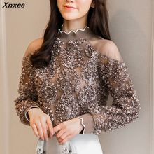 Coffee rose white women top 2019 Fashion Blouses Shirts autumn Spring long Sleeve Cold Shoulder Tops Causal Pleated Blusas Xnxee yellow pleated design plain cold shoulder long sleeves blouses