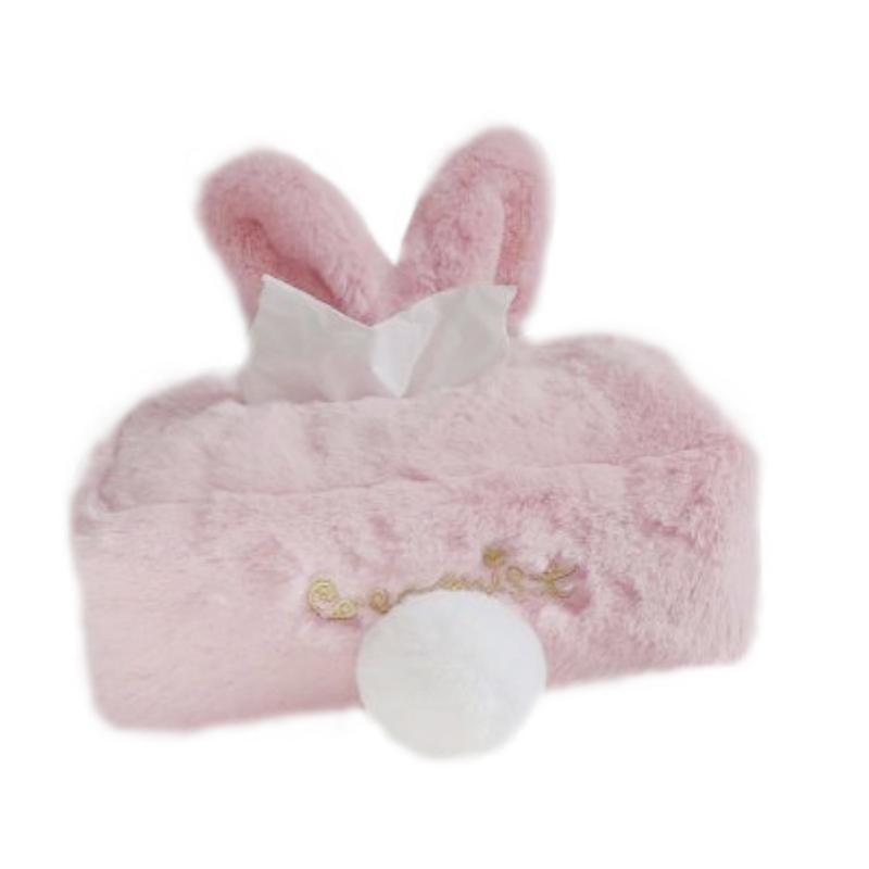 Home Storage & Organization Kitchen Storage & Organization Honey Sweet Color Pink White Plush Rabbit Tissue Box Durable Home Car Hotel Sofa Paper Tissue Holder Napkin Case Pouch Girls Gift A Great Variety Of Goods