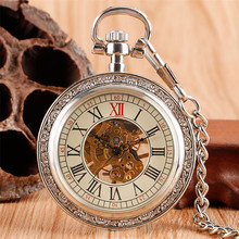 Silver Open Face Roman Numerals Mechanical Pocket Watch Steampunk Watch Chain Hand Winding Vintage Watch Gifts Men Women reloj все цены