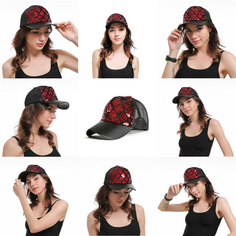 Ladies hat ponytail adjustable baseball cap geometric pattern sequins shiny messy bun sun