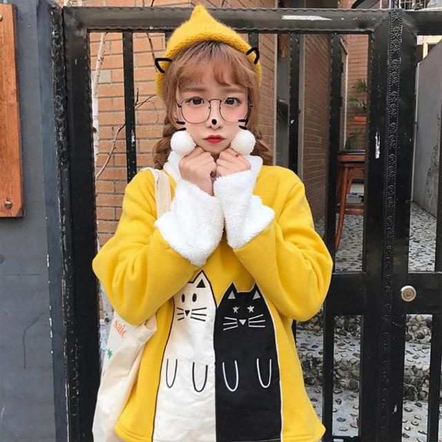 Christmas Lovely Cats Print Winter Hoodies Sweatshirt 2019 Women Female Warm Fleece Xmas Autumn Tops Women Long Sleeve Coat  4