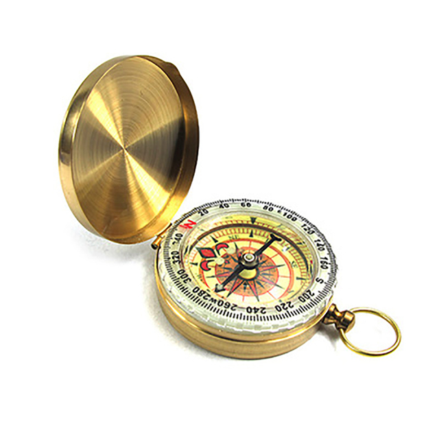 Unisex Durable Waterproof Round Button Pocket Watch As Picture Luminous Multipurpose Compass Outdoor Survival Tool
