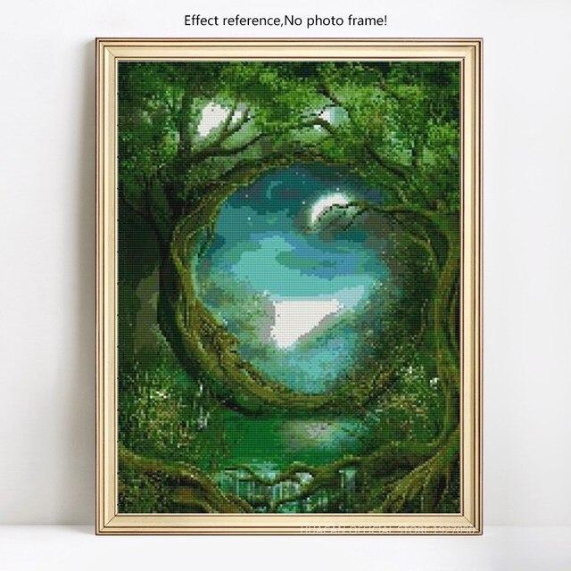 HUACAN 5D DIY Diamond Painting Big Tree Old Man Art Full Dill Square Rhinestone Diamond Embroidery
