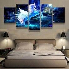 5 Piece Canvas Art Fantasy 3D Unicorn Cuadros Decoracion Paintings on Wall for Home Decorations Decor Artwork