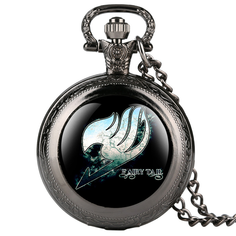 Skyrim Pocket Watch For Women Men Fairy Tail Pattern Quartz Pocket Watches For Students Arabic Digital Gift For Pocket Watch