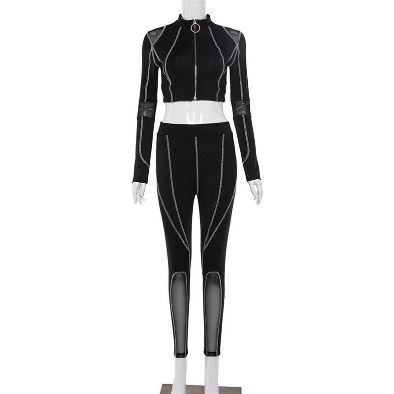 BOOFEENAA Mode 2019 Trainingsanzug 2 stück Set Zip Mesh Crop Top und Hosen Frauen Zwei Stück Outfits Sweatsuit Passenden Sets c87BZ71