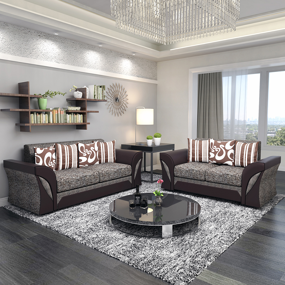 Panana Livingroom Furnitures Sofa Set Armchair Faux Leather & Fabric Foam 2 /3 /2+3/3+3 Seats