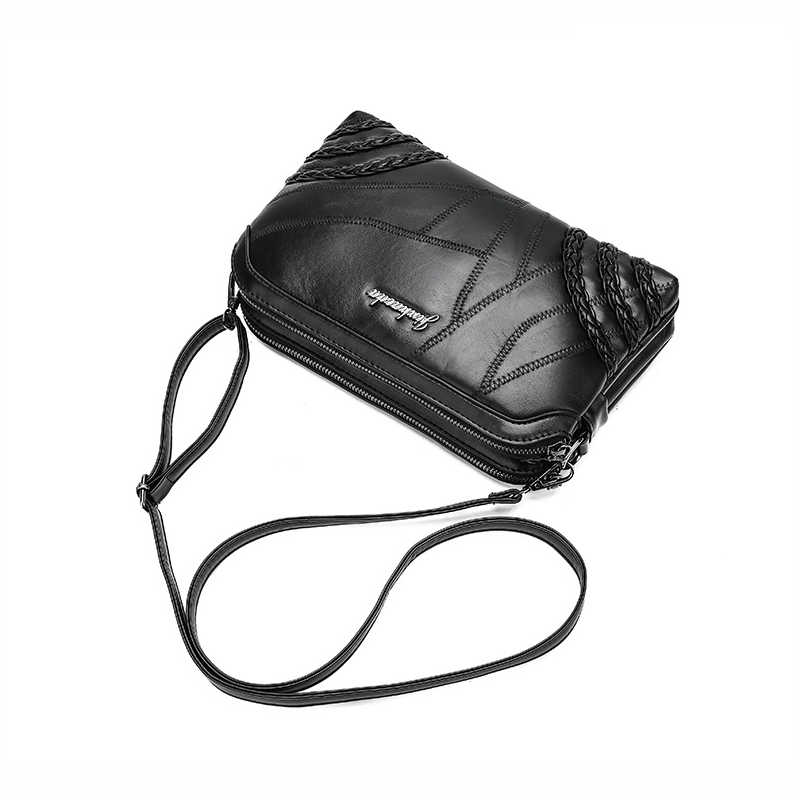 WITFOX bolsa de hombro para mujer de cuero genuino remache de piel de oveja punk street wear teléfono móvil tendencia paquete pequeño embragues