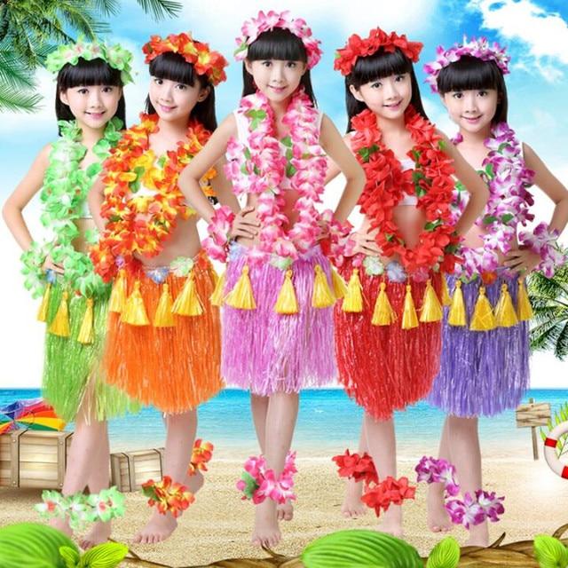 a17195427d0df 2019 Hawaii Flower Lei Headband Garland Wreath Hula Grass Skirt Kids Girls Fancy  Dress Decor Beach