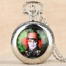 Clock Pendant Necklace Alice Hatter-Pattern Wonderland Pocket-Watch Gift Women in Mad