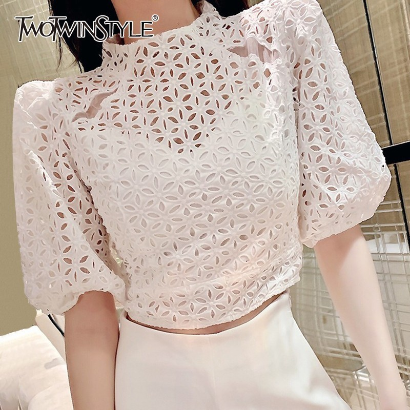 TWOTWINSTYLE Vintage Hollow Out Women Blouse Stand Half Sleeve Solid Loose Shirt Female Summer 2020 Fashion Clothes New